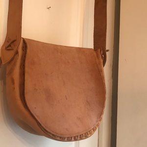 Handmade boho style vintage leather shoulder bag